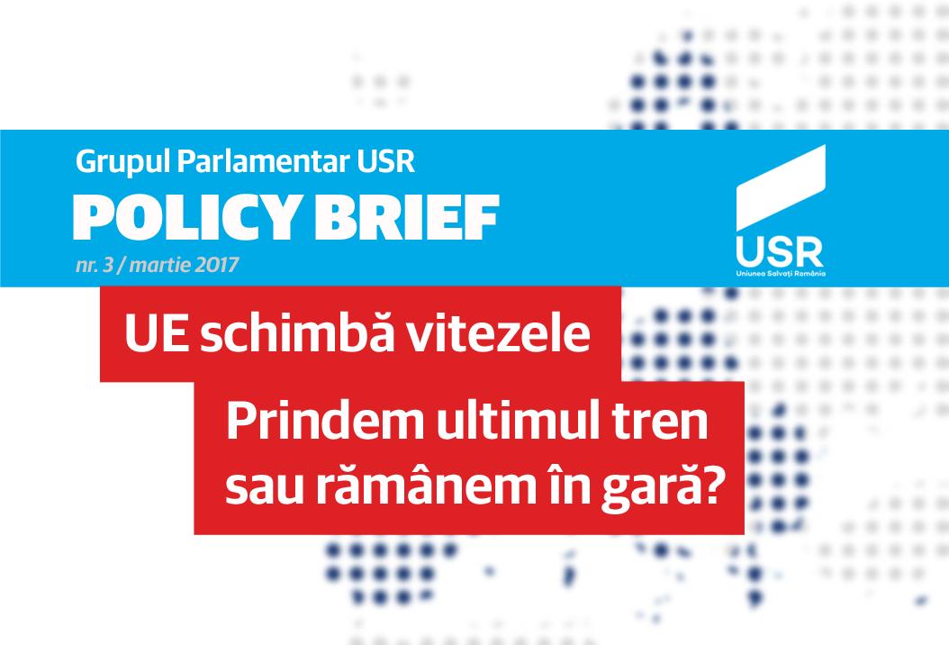 (Policy Brief nr.3 al Departamentului de Politici și Cercetare de pe lângă Grupul Parlamentar USR - UE schimbă vitezele. Prindem ultimul tren sau rămânem în gară? Carton-Policy-Brief-3-2